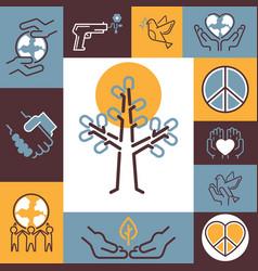 Peace symbols collage fine vector