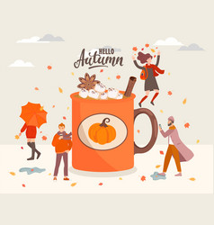 people near big coffee mug vector image