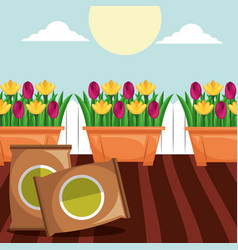 Potted flowers and potting soil tools gardening vector
