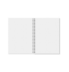 realistic opened horizontal cell lined notebook vector image