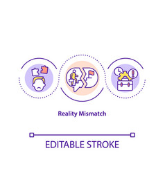 Reality mismatch concept icon vector