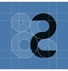 Round engineering font Symbol 2 vector image