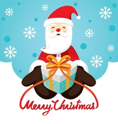 Santa Claus Smiling And Gift Box vector image