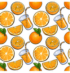 Seamless pattern backdrop design of oranges and vector