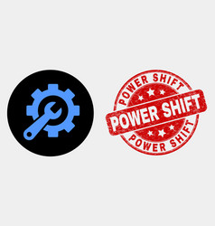 service tools icon and distress power shift vector image