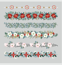 Set of christmas borders strings garlands or vector