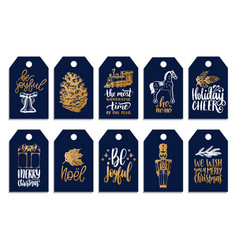 Set of tags with hand written christmas phrases vector