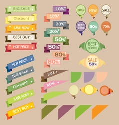 Set sale retro ribbons and banners vector