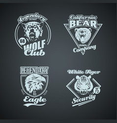 set vintage wild animal retro logos vector image