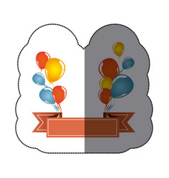 Sticker colorful balloons party with decorative vector