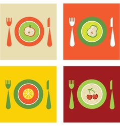 summer set of organic and fresh fruits on plates vector image