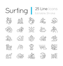 surfing linear icons set vector image