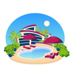Swimming pool big modern villa flat design vector