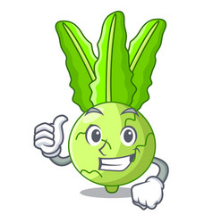 Thumbs up character kohlrabi on a wooden table vector
