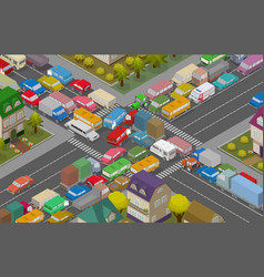 Traffic jam isometric cars and houses for vector