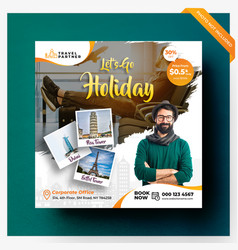 Travel holiday social media banner or square flyer vector