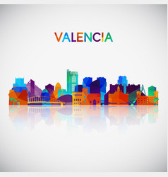 valencia skyline silhouette in colorful geometric vector image
