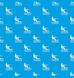 Water skiing man pattern seamless blue vector