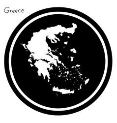 white map of greece on black circle vector image