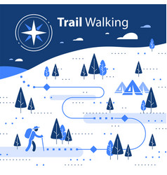 Winter hiking map snow forest trail vector