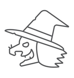Witch thin line icon magic and halloween wizard vector