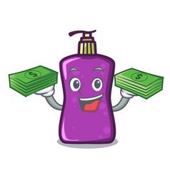 With money bag shampo mascot cartoon style vector