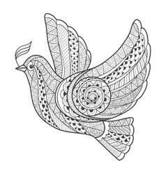 Zentangle stylized dove with branch vector