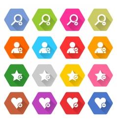 Flat addition icon hexagon web button vector