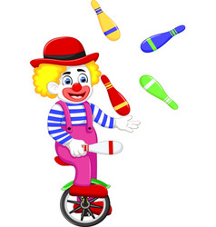 funny clown cartoon playing balls on bicycle vector image vector image