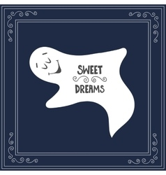 Hand drawn text sweet dreams on blue sky vector image