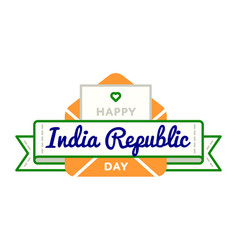 india republic day greeting emblem vector image vector image