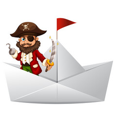 pirate with sword standing on paper boat vector image vector image