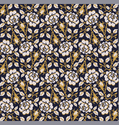 seamless pattern with geometric ornament flora vector image vector image