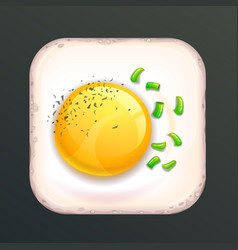 square shaped fried egg vector image vector image