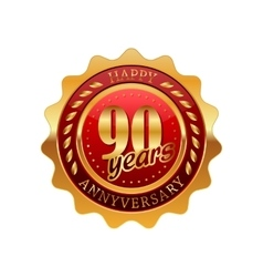 90 years anniversary golden label vector image
