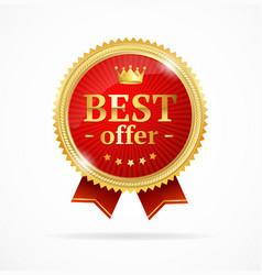best offer sale label medal vector image vector image