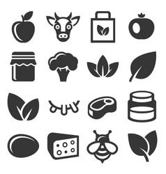 farm and organic food icons set vector image