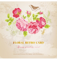 Floral Shabby Chic Card - vintage design vector image vector image