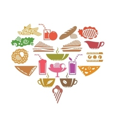 Foods and drinks in heart shape vector image vector image