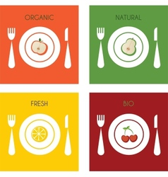 summer set of organic and fresh fruits on plates vector image vector image
