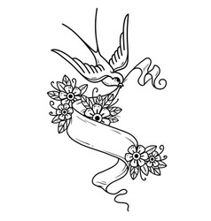 swallow flies and carries ribbon with flowers vector image