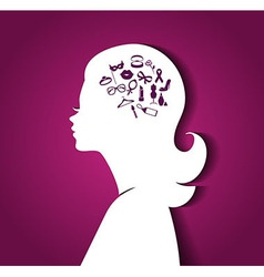 Woman head with icons vector image