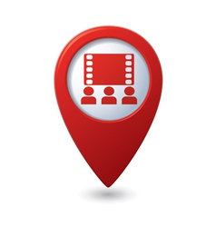cinema icon red map pointer vector image vector image