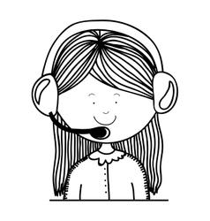 Contour teenager customer service icon vector