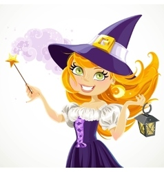 Cute young witch with magic wand and flashlight vector