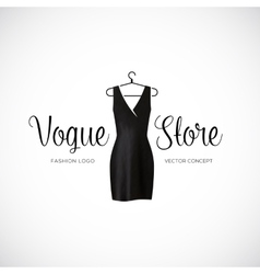 Fashion Vogue Store Logo Template With Black Dress vector image vector image