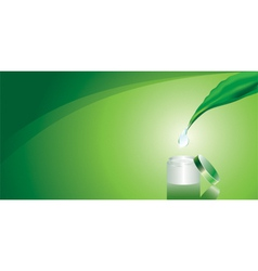 Green background with cream vector image