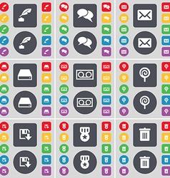 Ink pot Chat Message Hard drive Cassette Lollipop vector image vector image