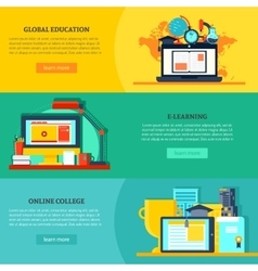 Online Education Horizontal Banners vector image