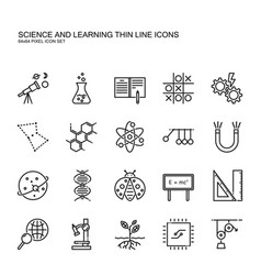 science and learning simple thin line icon set vector image